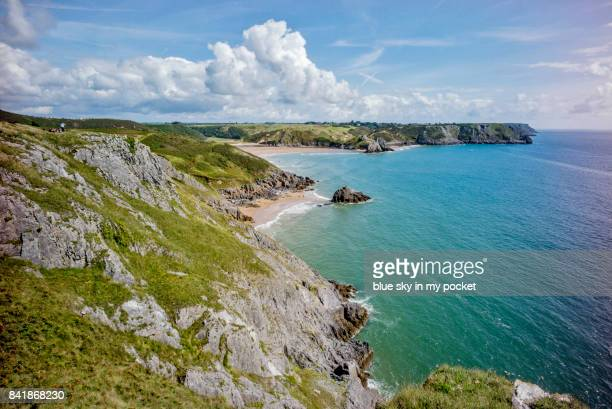 three cliffs bay, gower, south wales, uk - gower peninsula stock photos and pictures