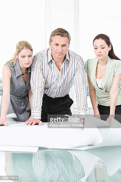 Three colleagues looking at some plans