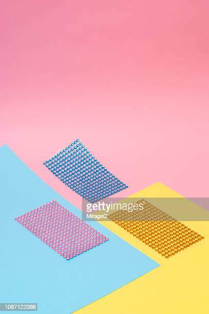 three color glitter sticker - pink sparkles stock pictures, royalty-free photos & images