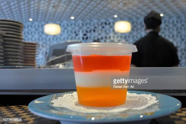 Three Color Jello in Plastic Cup