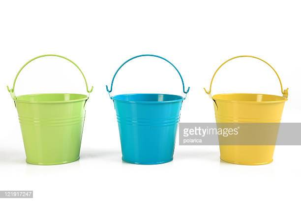 three colored buckets - three objects stock pictures, royalty-free photos & images