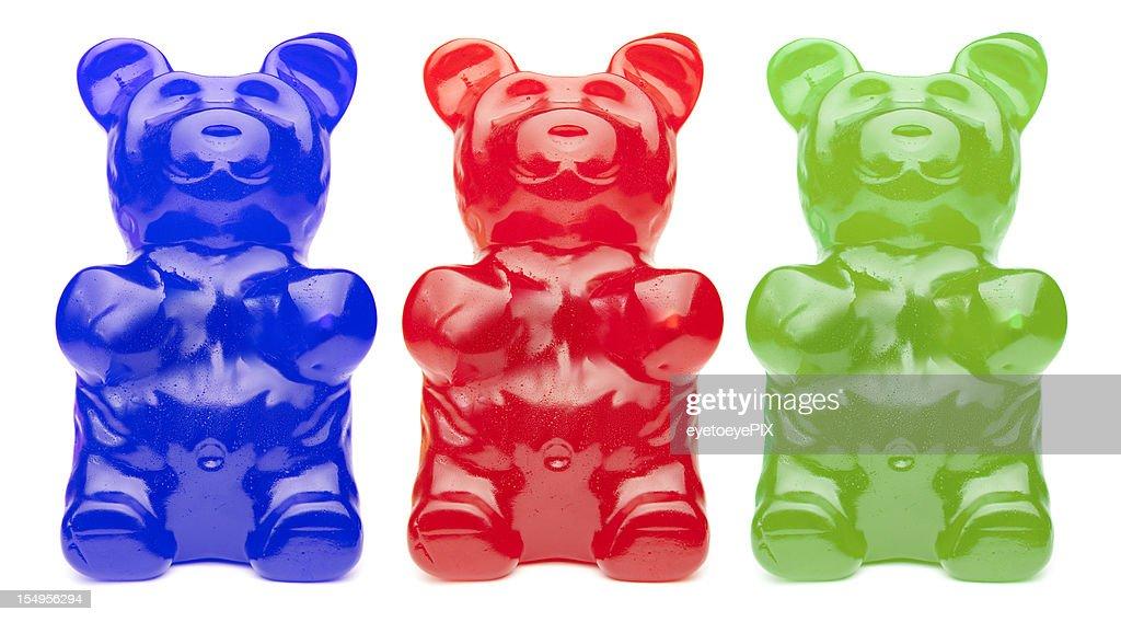 Three Colorful Gummy Bears : Stock Photo