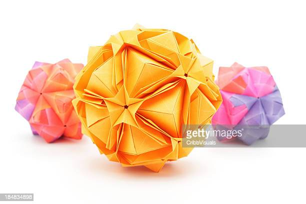 Three colorful origami polyhedron paper craft designs