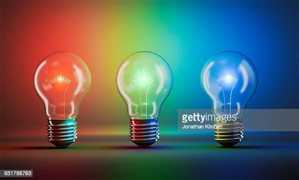 Three coloured Light bulbs