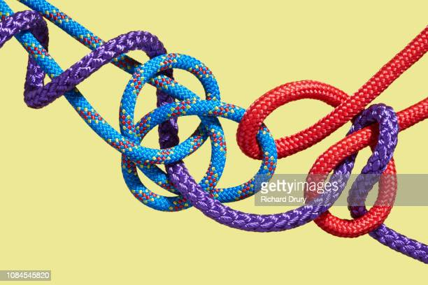 Three coloured ropes knotting together