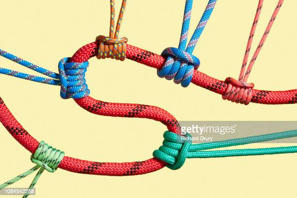Three coloured ropes pulling on a larger rope to shape its path