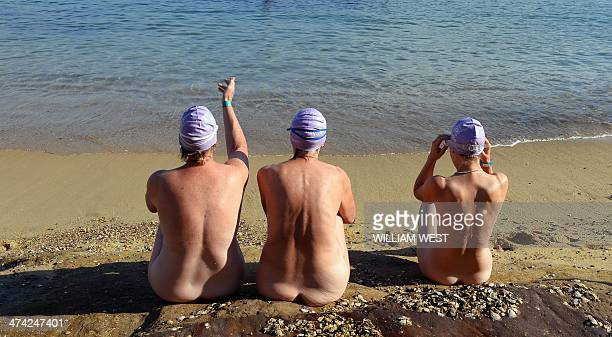 Three competitors wait for the start of the second annual Sydney Skinny where they take part in an attempt to break the world record for the largest...