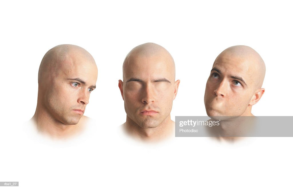 three conceptual photos of a bald caucasian man without ears without eyes and without a mouth : Stockfoto
