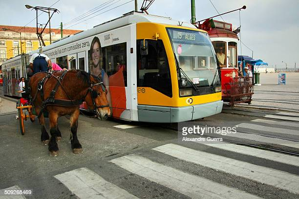 Three contrasting means of transport in Lisbon down town A horsedrawn chariot a modern and a historic tram stand by the red traffic light side by...