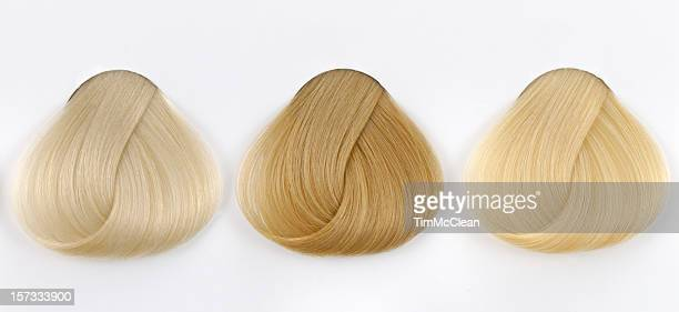 three copper hair samples - highlights hair stock pictures, royalty-free photos & images
