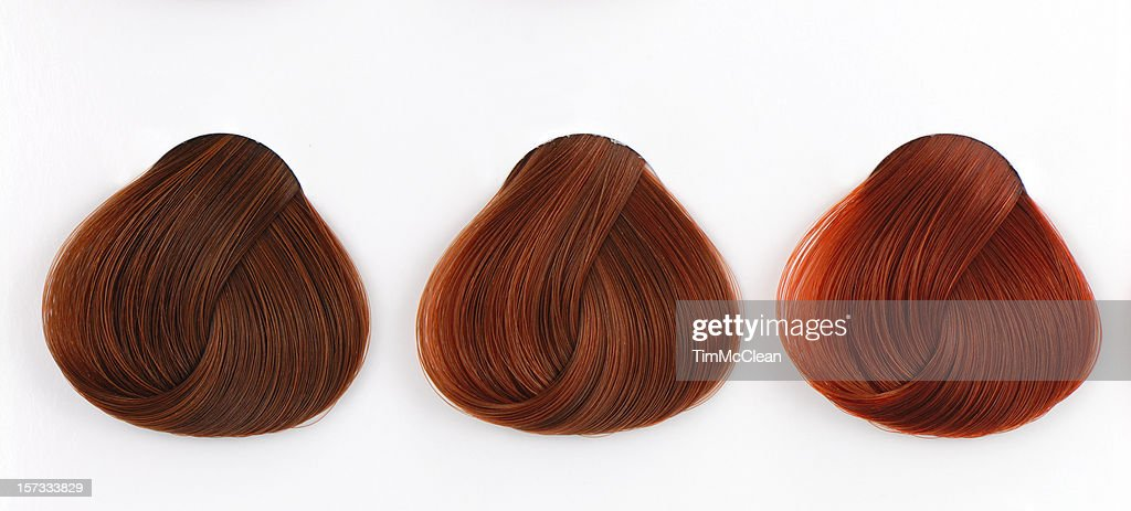 Three Copper Hair Swatches Stock Photo Getty Images