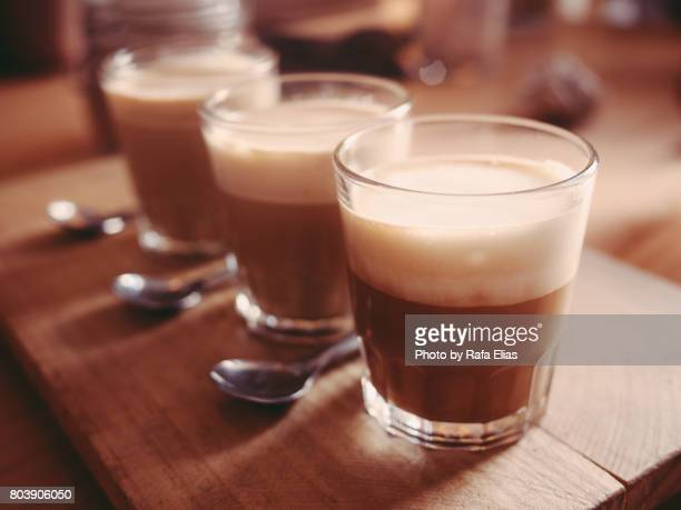 three cortado coffees - small group of objects stock pictures, royalty-free photos & images