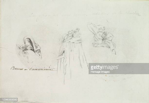 Three Costume Sketches of a Bonnet a Cloak and a Hat circa 178590 Artist Anon