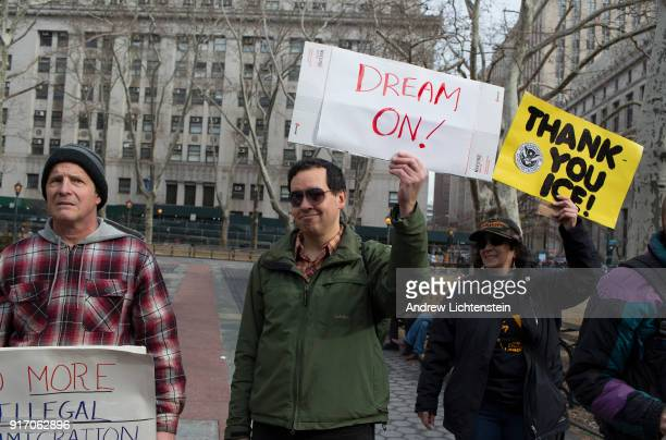Three counter demonstrators attend a New Sanctuary Coalition rally to celebrating immigrant activist Ravi Ragbir's suspended deportation and to...