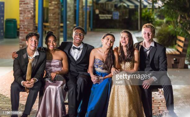 three couples hanging out after prom - prom dress stock pictures, royalty-free photos & images