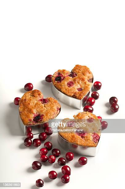 Three Cranberry Oatmeal Muffins in Heart Shaped Tins