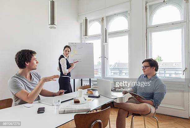 Three creative business people having a meeting in a modern office