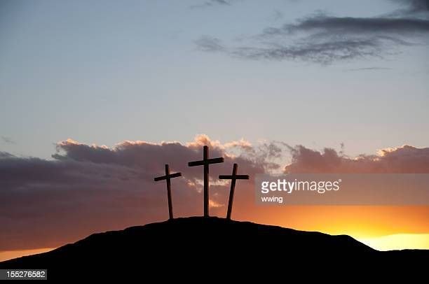 three crosses at calvary, near jerusalem on good friday. - good friday stock pictures, royalty-free photos & images