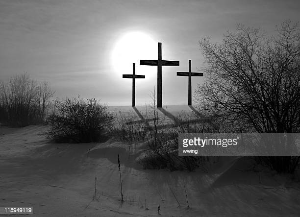 Three Crosses Black and White