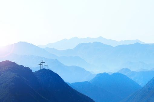 Three Crosses On A Hill At Sunrise 1137601290
