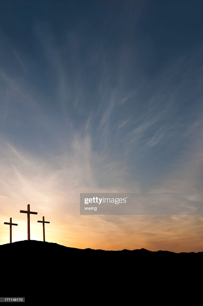 Three Crosses on Good Friday With Dramatic Sunset- Copy : Stock Photo