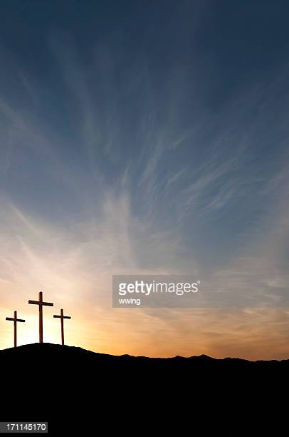 three crosses on good friday with dramatic sunset- copy - good friday stock pictures, royalty-free photos & images