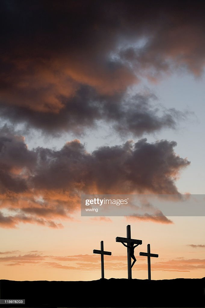 Three crosses with Christ in the center : Stock Photo