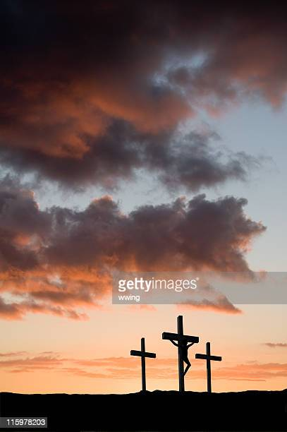 three crosses with christ in the center - christ is risen stock pictures, royalty-free photos & images