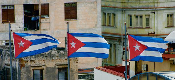 Three Cuban Flags Flying Over Havana, Cuba - gettyimageskorea