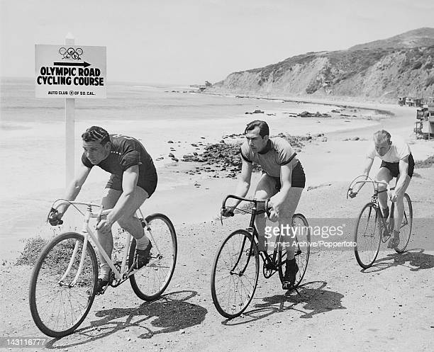 Three cyclists try out the 100 km Olympic cycling course down the Malibu coast from Conejo Grade to Santa Monica, California, May 1932. They are...