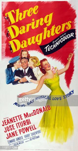 Three Daring Daughters poster US poster top Elinor Donahue Jose Iturbi Jane Powell Ann Todd bottom right Jeanette MacDonald 1948