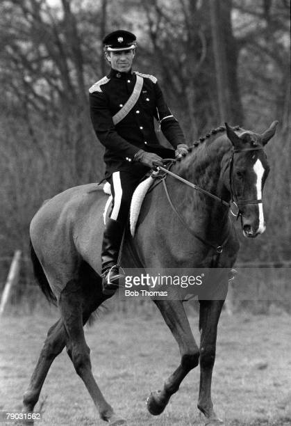 Three day Eventing Captain Mark Phillips of Great Britain husband of Princess Anne on top of his horse during the equestrian event