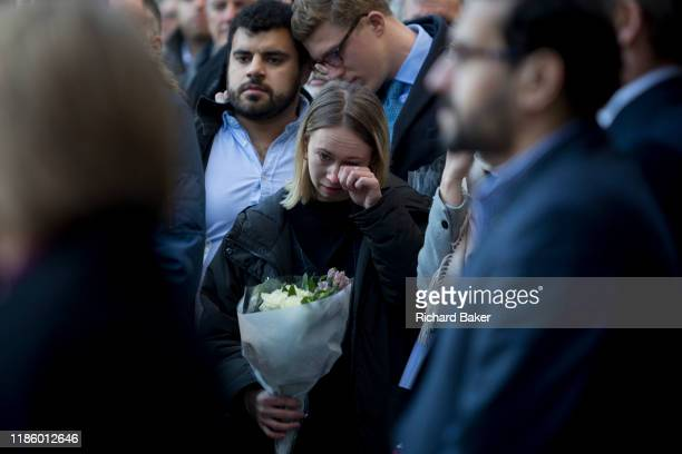 Three days after the killing of Jack Merritt and Saskia Jones by the convicted teorrorist Usman Khan at Fishmongers' Hall on London Bridge emotional...