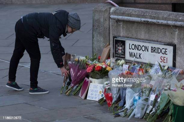 Three days after the killing of Jack Merritt and Saskia Jones by the convicted teorrorist Usman Khan at Fishmongers' Hall on London Bridge a memorial...