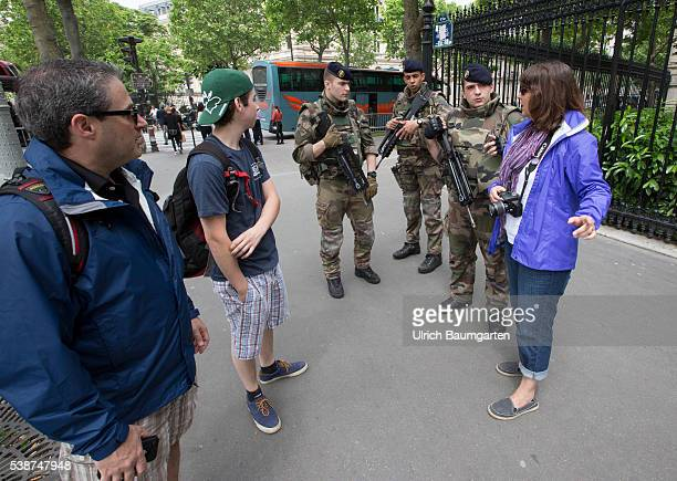 Three days before the start of the UEFA European Football Championship continued high level of security Soldiers of the French army discuss with...