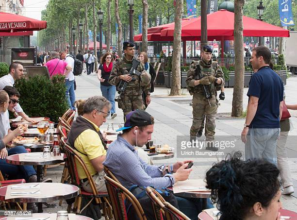 Three days before the start of the UEFA European Football Championship continued high level of security Soldiers of the French army patrolling on the...