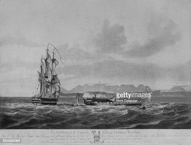 A Three Days' Chase and Capture' from 'Old Naval Prints' by Charles N Robinson Geoffrey Holme 1924 On 6 March 1808 the British frigate HMS 'San...