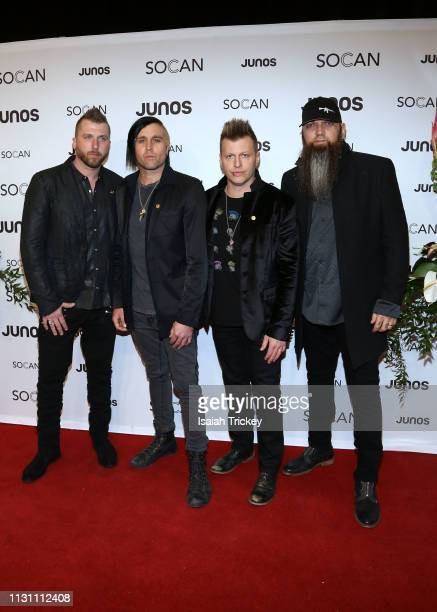 Three Days Grace arrive on the red carpet for the 2019 Juno Gala Dinner and Awards at the London Convention Centre on March 16, 2019 in London,...