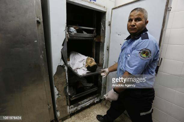 Three dead bodies of Palestinian demonstrators who were killed by Israeli soldiers during the 'Great March of Return' demonstration near IsraelGaza...