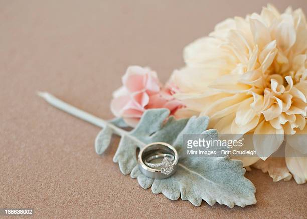 three decorative accessories for a wedding. flowers and a leaf shape. a finger ring. - utah wedding stock pictures, royalty-free photos & images