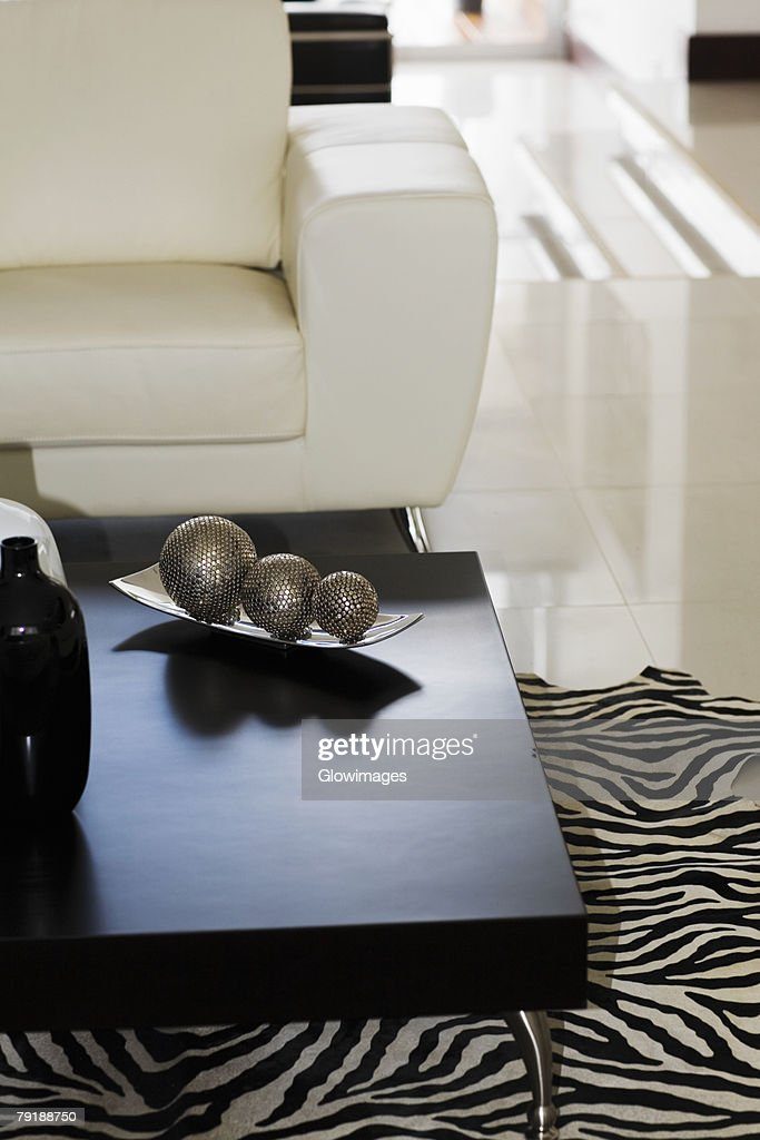 Three decorative balls on a table : Stock Photo