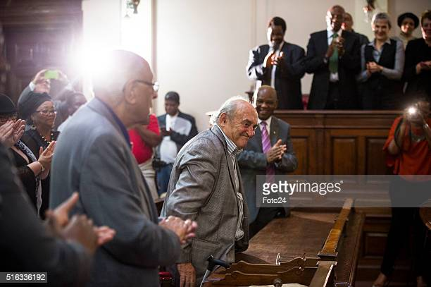 Three defendants from the Rivonia Trial Ahmed Kathrada Andrew Mlangeni and Denis Goldberg during the handing over of the digital audio recordings...