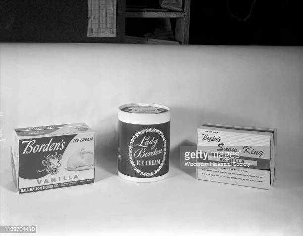 Three different cartons of Borden's dairy products Vanilla Ice Cream with 'Elsie the Cow' logo 'Lady Borden Ice Cream' and Borden's 'Snow King'...