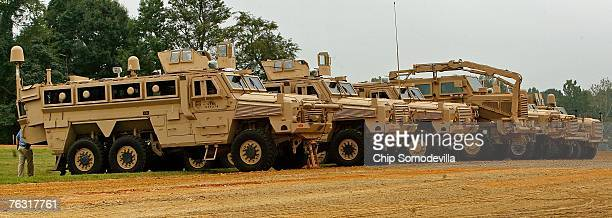 Three different categories of Mine Resistant Ambush Protected vehicle are displayed during a demonstration at Aberdeen Proving Ground on Friday...