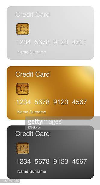 Three different credit card with microchip