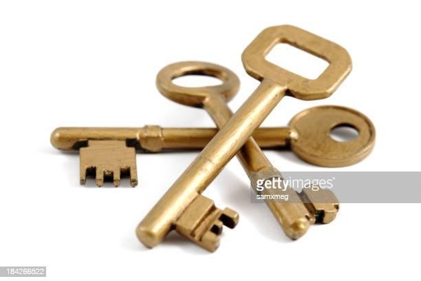 Three different sized gold keys