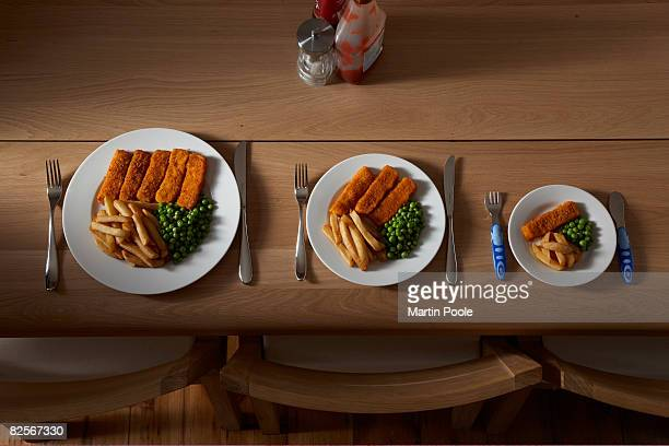 three different sized portions of food on plate - comparison stock pictures, royalty-free photos & images