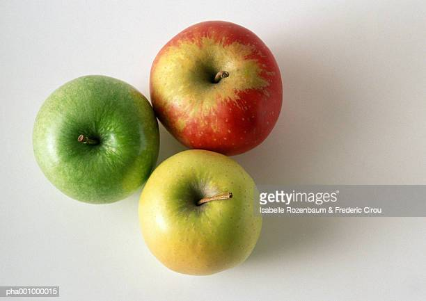 Three different sorts of apples, close-up, high angle view