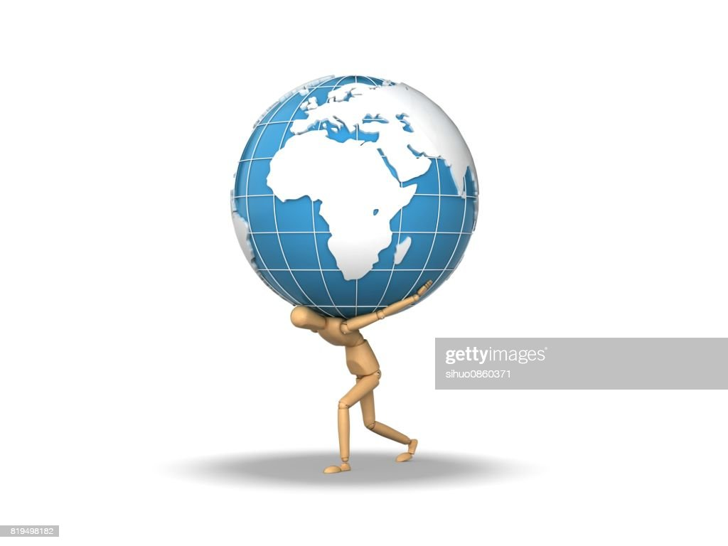 three dimensional characters carrying earth stock photo getty images