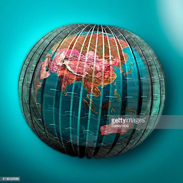 three dimensional latitude and longitude - längengrad stock-fotos und bilder